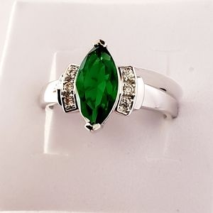 Beautiful Emerald & Cubic Zirconia Marquise Ring